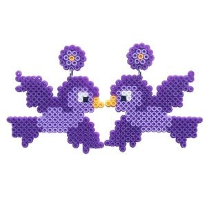 Purple Lovebird Earrings